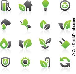 verde, iconos, y, gráficos