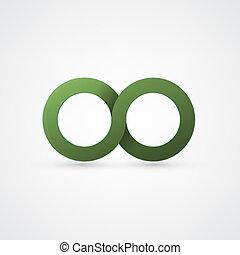 verde, infinità, segno