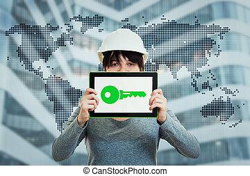 verde, ingeniería, presentación, llave