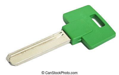 verde, isolado, tecla