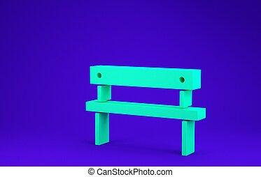 verde, isolato, blu, illustrazione, render, concept., minimalismo, panca, icona, fondo., 3d