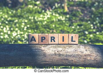 verde, jardim, em, abril, com, um, sinal
