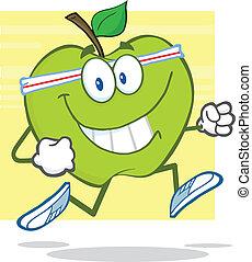 verde, jogging, carattere, mela
