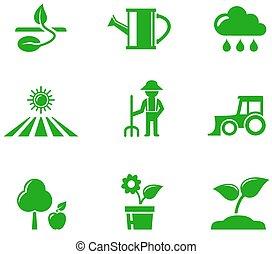 verde, jogo, agricultura, ícones