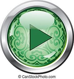 verde, jogo, botão