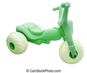 verde, juguete, triciclo