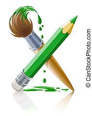 verde, lápis, e, escova, com, pintura
