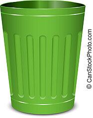 verde, lata, basura
