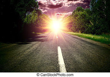 verde, legno, e, strada, sopra, cielo blu, wis, tramonto