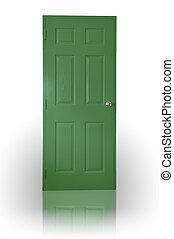 verde, legno, porta