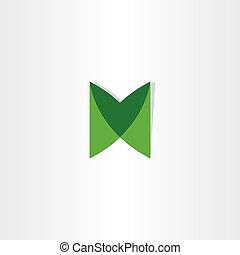 verde, letra m, logotype, vector, diseño
