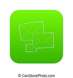 verde, lettera, icona