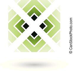 verde, lettera x, icona, con, quadrato, e, triangoli, vettore, illustrazione