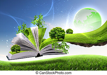 verde, libro, abierto, mundo, naturaleza