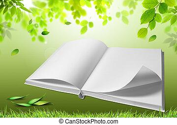 verde, libro, abierto, naturaleza