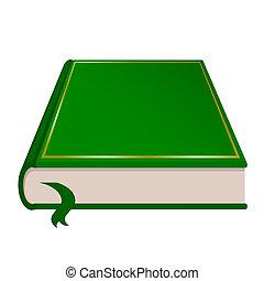 verde, libro, vector