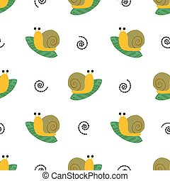 verde, licencia, lindo, patrón, caracol, plano de fondo, seamless