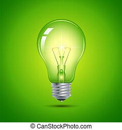 verde ligero, bombilla