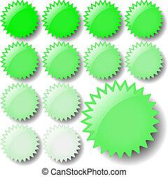verde ligero, estrella, iconos