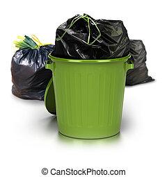 verde, lixo pode, sobre, um, fundo branco, com, um, plástico, fechado, saco, dentro, e, dois, outro, sacolas plásticas, em, a, parte traseira, lado, -, tiro estúdio, positivo, 3d, lixo
