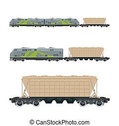 verde, locomotiva, com, hopper, car, ligado, plataforma