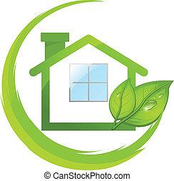 verde, logotipo, de, eco, casa, com, folheia