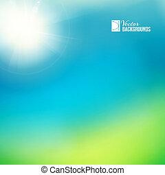 verde, luminoso, soleggiato, fondo.