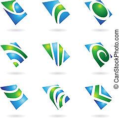 verde, lustroso, ícones