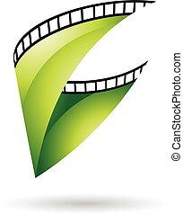 verde, lustroso, bobina película, ícone