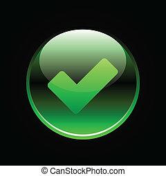 verde, lustroso, botão, com, confira mark, sinal