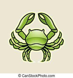 verde, lustroso, carangueijo, ou, câncer, ícone, vetorial, ilustração