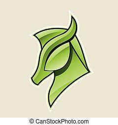 verde, lustroso, cavalo, cabeça, ícone, vetorial, ilustração