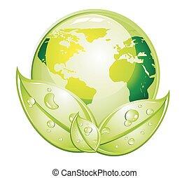 verde, lustroso, mundo, ícone
