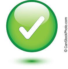 verde, lustroso, teia, 2.0, botão, com, confira mark, sinal