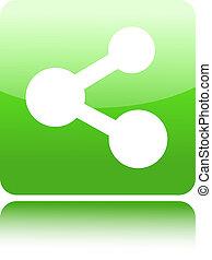 verde, lustroso, teia, botão, com, parte, sinal