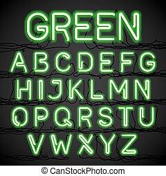 verde, luz néon, alfabeto, com, cabo