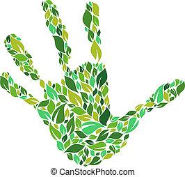 verde, mão