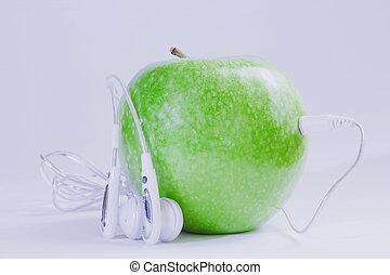 verde, música, manzana