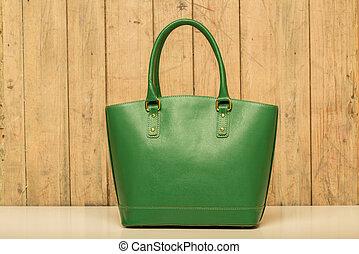 verde, madeira, bolsa, fundo