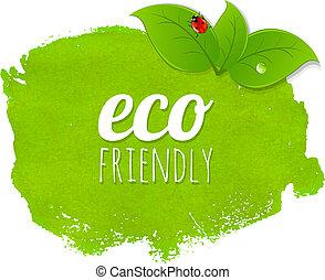 verde, mancha, con, hojas