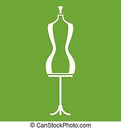 verde, mannequin, ícone