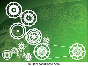 verde, maquinaria