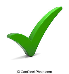 verde, marca de verificación