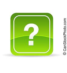 verde, marca, pregunta, icono