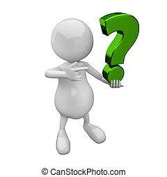 verde, marchio, domanda, 3d, persone