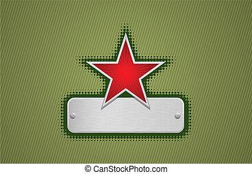 verde, marco, vector, estrella, rojo
