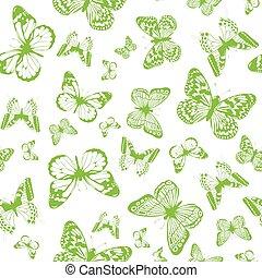 verde, mariposa, plano de fondo