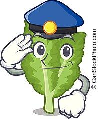 verde, mascotte, mustrad, polizia, islated