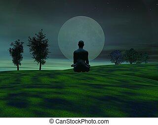 verde, meditación