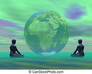 verde, meditación, para, tierra